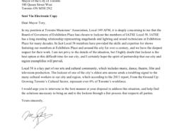 Letter to John Tory